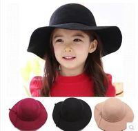 big and tall ties - British Fashion Baby Hat Summer Girl Woolen Hat Child Autumn And Winter Bow Big Brim Beach Cap