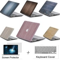 Wholesale Protective Cover Shell laptop Protector New Wood Grain Hard Case For Apple Macbook Air Pro Retina Bag cut logo