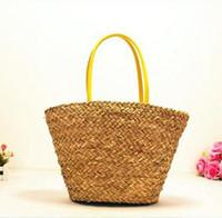 bags seaweeds - 2016 Summer Design Women Handbags Straw Women Messenger Bags Beach Bag Large Capacity bag natural seaweed Handbags