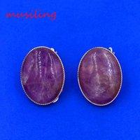 Wholesale Ear Cuff Earring Natural Stone Earrings Ear Clip Earrings Oval Silver Plated Ear Accessories European Fashion Jewelry For Women