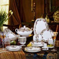 Wholesale Floral pastoral Jingdezhen porcelain tableware bone china crockery suits wedding suit housewarming gifts