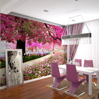 applied packaging - Modern Nature Non woven cherry tree Sunset Nature Wallpapers apply large bedroom living room TV backdrop restaurant
