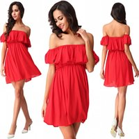 Wholesale Cheap Women Dress Blouses - 2016 Hot Sell Bohemian Style Summer Blouses Shirts Elegant Off Shoulder Red Mini Short Women Casual Dresses FS181 Wholesale Cheap Dresses