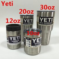 Wholesale Yeti oz oz oz oz Cup Cooler Yeti Colster with Can Rambler Tumbler Travel Vehicle Beer Mug Bilayer Vacuum Insulated Stainless Steel