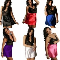 beautiful nightgowns - New Arrival Color Female Sexy Lithe Nightgowns Full Lace Bra Silk Satin Sleepwear Beautiful Lady Slips Intimates Plus XL XL
