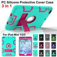 al por mayor cubierta defensor ipad-Protector a prueba de choques Caso 3 in1 Robot Defender Robot Hybrid PC + Silicona Kickstand Stand Protector de la pantalla Funda para iPad Mini 2 min3