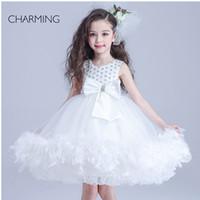bead vest - beauty pageants dresses designer dresses for kids White round neck Belt decoration Crepe fabrics Bubble Skirt