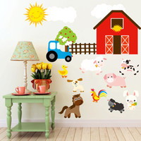 bathroom duck - Cartoon Duck Sheep Dog Pig Farm Animals DIY Generic Decal Wall Sticker Kids Room Decor Mural living room vinyl Inspiration art