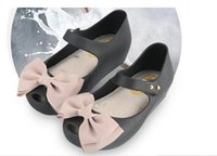 Wholesale Mini Melissa Pearl Bow Ribbon Shoes Top Original Quality Girls Sandals New Design Fashion Toddler Shoes Jelly Soft Shoes
