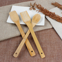 Wholesale SF EXPRESS Bamboo Spoon set natural environmental bamboo ladle three piece suit pan bamboo spoon set Kitchen supplies your good helper