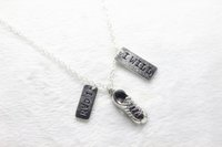 antiques shoes - Antique silver plated Gym shoes necklace I Can I Will Success unisex Charm Pendant Necklace