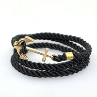 Wholesale 2016 Fashion Vintage Jewelry weave Wrap Multi Layer Anchor Bracelet Infinity bracelet Wrap Rope Charm Bangle For Men And Women