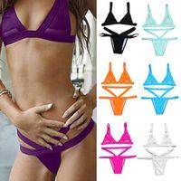 Wholesale Women Fasion Sexy Mesh Bikini Set Hollow Out Tops Bandage Swimsuit Strappy Swimwear Sexy Mini String Thong Colors