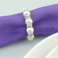 Wholesale High Quality Cheapest Price Elastic White Pearls Rhinestones Napkin Rings Wedding party Accessories