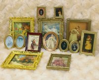 Wholesale or scale Dollhouse Miniature Framed Wall Paintings Home Decor Room Items Doll House Scale Toy