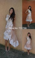 Wholesale Pretty Jewel High Low Homecoming Dresses Girl Dress With White Lace Appliques Evening Party Graduation Dresses