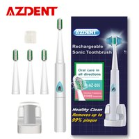 Wholesale AZDENT v v Rechargeable Sonic Electric Toothbrush Wireless Charging Ultrasonic Teeth Tooth Brush pc Brush Heads Kid Adult