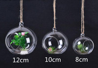 Wholesale Home Wedding Decroation Modern Transparent Glass Ball Type terrarium Hanging Tealight Candle Holders Vase diameter cm cm cm