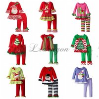 Wholesale baby christmas tree t shirt ruffle pants sets xmas elk outfit girls deer children polka dot tops kids spring fall wear outfit Z411