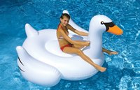 Wholesale DHL Summer inches International Leisure Giant Swan Swimming Water Lounge Pool Kid Giant Rideable Swan Inflatable Float bed Toy
