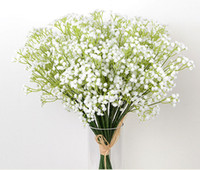 artificial green plants - 60pcs A Bouquet OF Gypsophila Artificial Flowers Table flowers Fake Baby Breath Silk Flowers Plant Home Wedding Decoration B