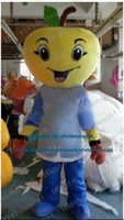 big apple clothing - Authentic Yellow Apple Mascot Costume Cartoon Character Mascotte Adult Blue Clothes Big Eyes Smiling Face ZZ510