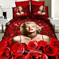 Cheap bedclothes 100% cotton red rose quilt 3 d creative activity marilyn Monroe sheet set luxury 3D bedding sets King size flowers