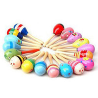 Wholesale 1Pc Kid Baby Wood Maraca Rattle Shaker Percussion Musical Instrument Toy A00019 BRE