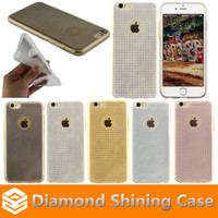 Wholesale Ultra Thin Glitter Bling Bling Diamond Grain TPU Case Fashion Soft Back Cover For Iphone SE Iphone s Plus Samsung S6 S7 S7 Edge