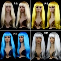 anime wig - DHL Free Cheap Quality Anime Cosplay Wigs colors Synthetic Hair Wig stage Cosplay Colored Halloween Costume Long Straight Wigs For Party