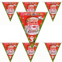Wholesale New Both Side Printed Santa Claus String Flag Pennants Shaped Paper String Banner Flag For Christmas Festival Night Christmas Decor