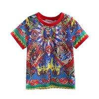 Wholesale Cutestyles Hot Sale Fashion Chinese style Boy T shirt Retro Print O neck Tops Casual Boys T shirt CS90315 L