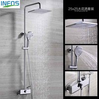 Wholesale INFOS Waterfall Brass Bathroom Hot And Cold Water Mixer Bath Shower Set Faucet torneira banheiro Air Injection Shower Head IFA002