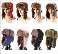 Wholesale Men Warmer Warm Earflap Russian Trapper Bomber Hats Waterproof Cloth Winter Snow Ski Hat Women Winter Warm Fashion Cap Colorful High Quality