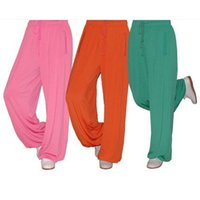 Wholesale Lotus leaf knitting material tai chi pants trousers male Women