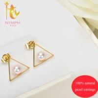 Wholesale Triangle Trendy design natural pearl stud earrings stone women earrings fine pearl jewelry E810