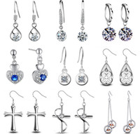 animal crossing monkey - New Silver Crystal Earrings for Woman Gemstone Crystal Cute Monkey face Cross Long Earring Valentine Gift Korean Fashion Jewelry