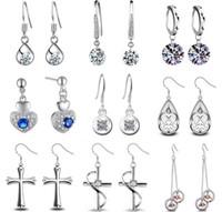 Nouveau 925 boucles d'oreilles en cristal d'argent pour la femme Gemstone Crystal Cute Monkey visage Cross Long Earring Valentine Gift bijoux de mode coréenne