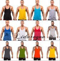 Wholesale Fitness Men Blank Stringer Cotton Tank Top Singlet Bodybuilding Sport Undershirt Clothes Gym Vest Muscle Singlet M193