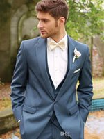 best body trimmers - The latest blue handsome thin body suit the groom s best man formal custom groom coat pants vest bow