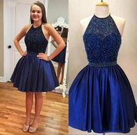 Wholesale 2016 Sparkly Short Knee Length A Line Open Back Halter Neck Navy Blue Cheap Homecoming Dresses Beaded Sequined Prom Party Gown Dress