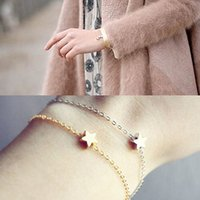 Wholesale Hot Women s Girls Fashion Jewelry Gift Gold Silver Plated Charm Chain Star Bracelet