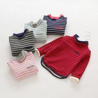Stripe maglietta del risvolto della camicia casual toccare il fondo Pullover tartaruga dal collo di velluto per le ragazze dei neonati bambini abbigliamento autunno inverno 2016
