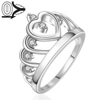 Wholesale Silver plated Ring Silver Fashion Jewelry Women Men Gift Swiss Stone Heart Crown Silver Finger Rings Wedding Jewerly Ring Male