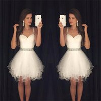 ajax blue - ajax Summer Homecoming Dresses Cheap Short Prom Modest White vestido de formatura Spaghetti Straps Beaded Crystals Ruffles Graduation P