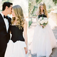corset and tulle wedding dresses - Simple Black And White Strapless A line Wedding Dresses Cheap Vintage Corset Stain And Tulle Long Bridal Gowns Custom Made