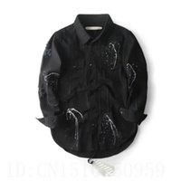 arc processing - 2016 Justin bieber patch designs off white vintage hole jacket clothing Arc hem Splash ink process black blue coat