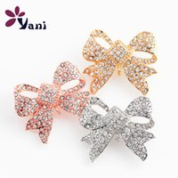 Wholesale Ribbon Bowknot Brooch Pins with Rhinestone Brooches Jewelry Crystal Flower Brooches for Wedding Women Mix Colors