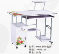 Wholesale Stainless steel glass desktop type single computer desk for home and office
