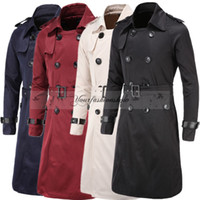 Wholesale Fashion Casual Mens Long Jacket Coat Winter Fashion Design Mens Double Breasted Trench Coat Men Slim Fit Outerwear L316